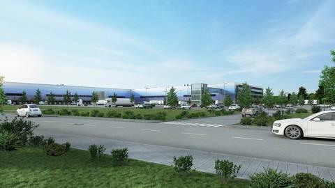 So ähnlich könnte das geplante Logistikzentrum einmal aussehen.  Foto: Visualisierung Dietz AG