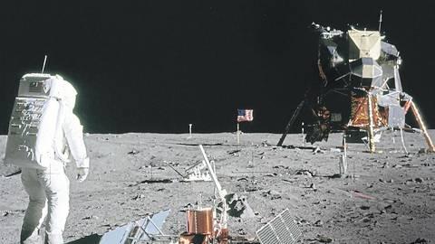Der Astronaut Edwin E. Aldrin am 21. Juli 1969 auf der Mondoberfläche: Die Nasa plant weitere bemannte Flüge zum Erdtrabanten.Foto: akg-images/NASA
