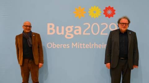 Mit Buga-Geschäftsführer Berthold Stückle (links) und Aufsichtsratschef Thomas Metz geht es jetzt an die Realisierung des Projektes Buga 2029 im Mittelrheintal Foto: Jochen Werner
