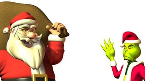 Würden wohl nicht zusammen in den Urlaub fahren: der Weihnachtsmann (l.) und der Grinch. Foto: Winne - Fotolia