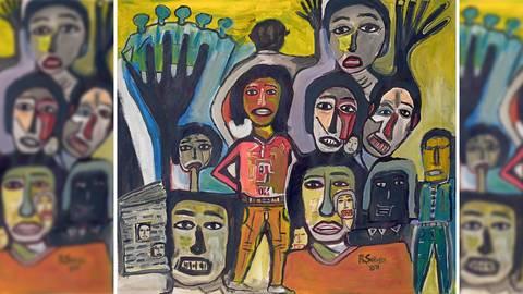 Das Motiv des namibische Künstlers Rudolf Seibeb zum Tag der Pressefreiheit 2021. Bild: Rudolf Seibeb