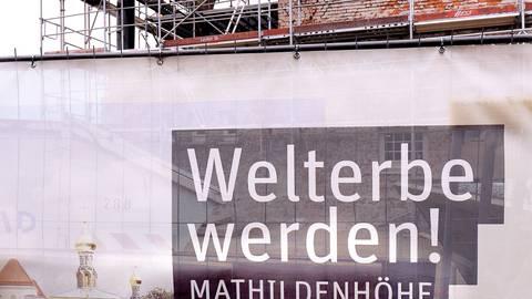 Das Ausstellungsgebäude auf der Darmstädter Mathildenhöhe ist aktuell noch eine Sanierungsbaustelle.  Foto: Andreas Kelm