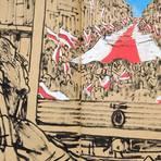 Die Darmstädter Künstlerin Johanna Krimmel hat in einer Serie von Zeichnungen das Jahr 2020 festgehalten. Die Motive: ihr damals sehr kranker, nun verstorbener Vater Bernd Krimmel beim Betrachten von Fernsehnachrichten. Hier betrachtet er die Bilder zum Bericht über eine Demonstration in Belarus. Foto: Johanna Krimmel