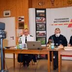 Jörg Matzner, Andreas Buhl und Pierre Bittendorf (v.l.) führten durch die digitale Jahreshauptversammlung der Wettenberger Feuerwehr. Foto: Feuerwehr Wettenberg