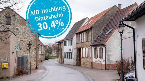 Bei der Landtagswahl erreichte die AfD in Dintesheim ihren höchsten Stimmenanteil in einem Wahlkreis. Montage: vrm; Foto: pakalski-press/Boris Korpak, rosifan19 - stock.adobe