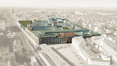 Eine Visualisierung zeigt, wie sich das Rüsselsheimer Altwerk verwandeln könnte.  Visualisierung: Motorworld Rüsselsheim