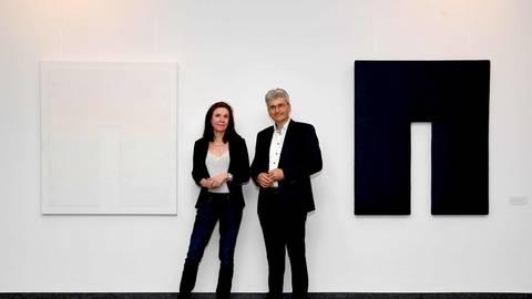 Künstlergespräch zur Ausstellung: Marie Luise Gruhne und Matthias Müller im MVB-Forum. Foto: hbz/Kristina Schäfer