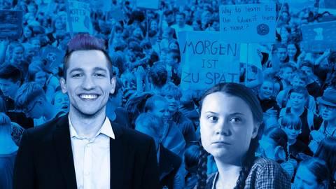 """Yotube-Star Rezo sorgte mit seinem Video """"Die Zerstörung der CDU""""  für Wirbel.  Greta Thunberg ist das Gesicht der Fridays-for-Future-Bewegung. Foto: imago, dpa (2), Getty Images/Bearbeitung: vrm"""