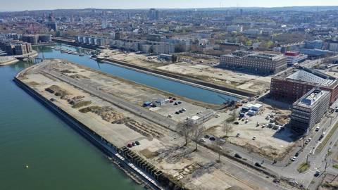 Das Rheinufer der Nordmole im Mainzer Zollhafen soll bis 2023 begrünt werden. Die Kosten dürften bei sieben Millionen Euro liegen. Foto: Zollhafen Mainz GmbH