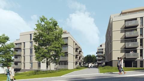 So sollen die Häuser des Neubauprojekts in der Carl-von-Ossietzky-Straße aussehen. die Fertigstellung ist für den Winter 2022 geplant. Foto: Jeremy Würtz (Zaeske Architekten
