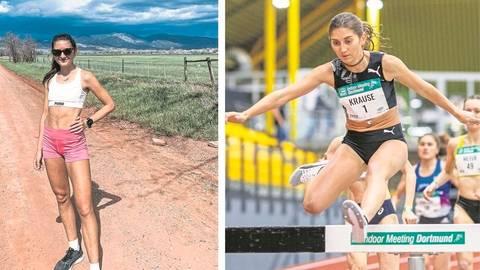 Es ist noch ein weiter Weg von der Hallensaison (r.) über das Trainingslager in Boulder (l.) bis Tokio: Aber Gesa Felicitas Krause ist über 3000 Meter Hindernis eine der deutschen Medaillenhoffnungen für die Leichtathletik-Wettbewerbe bei den Olympischen Sommerspielen. Fotos: Gesa Krause/imago