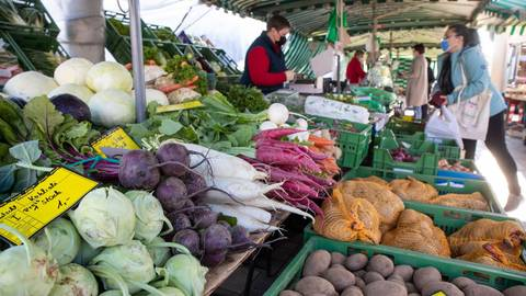 Obst und Gemüse gehen immer auf dem Bürstädter Wochenmarkt, so beim Stand von Strauß-Gemüsebau aus Lampertheim. Foto: Gutschalk