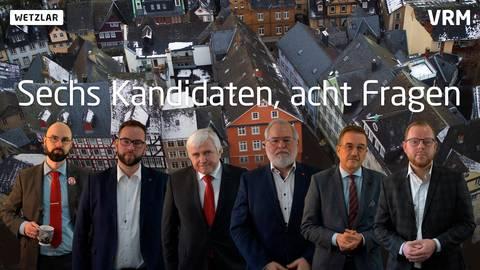 Diese sechs Kandidaten wollen Oberbürgermeister in Wetzlar werden. In verschiedenen Videos der WNZ stellen sie ihre Ideen und Lösungen für die Stadt vor.  Screenshot/Fotomontage: Dennis Weber