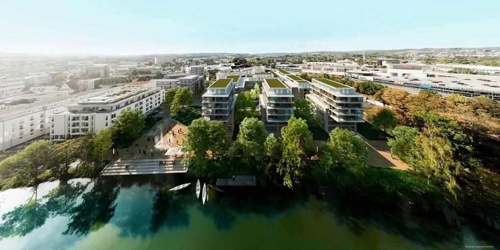 Die Neubebaaung des Lahnhofgeländes soll das neue Stadtviertel an der Bahnhofstraße komplettieren. Geplant ist eine Promenade bis an den Fluss.  Grafik: Peter Tjie