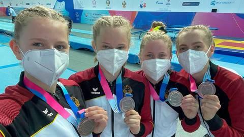 Strahle-Girls: Das deutsche Juniorinnen-Team um Aurelia Eislöffel (re.) nach dem Gewinn der Bronzemedaille bei der Trampolin-EM. Foto: Privat
