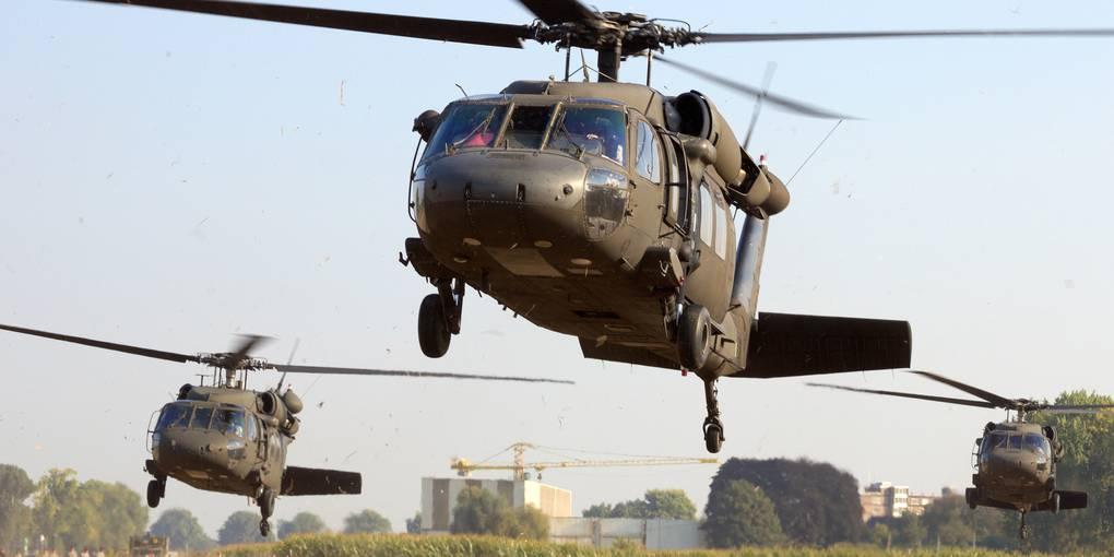 Hubschrauber über Wiesbaden Heute