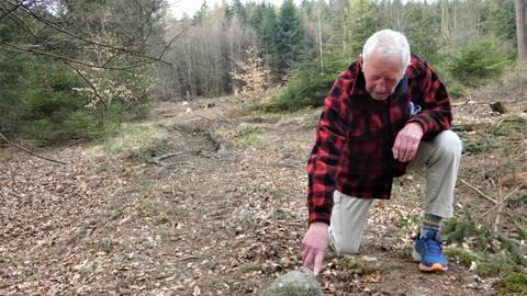 Eine Holzerntemaschine hat auf der Höhe eines historischen Grenzverlaufs tiefe Spuren im Wald hinterlassen. Dabei wurde auch ein Grenzstein beschädigt, den Werner König in Augenschein nimmt. Foto: Manfred Giebenhain