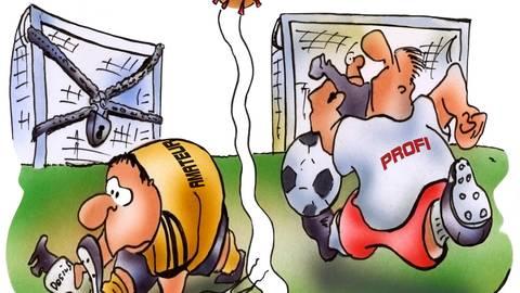 Die neuen Regelungen, um die weitere Verbreitung von Covid 19 aufzuhalten, stellen den Amateursport vor große Herausforderungen.  Karikatur: Heinruch SChwarze-Blanke