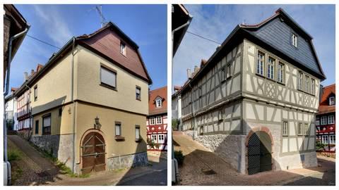 Das beschriebene Fachwerkhaus in der Kleinen Stephanstraße in Hofheim vor (links) und nach der Sanierung. Foto: Heiko Schmidt