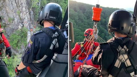 Die Höhenrettungsgruppe im Einsatz bei Trechtingshausen. Fotos: Feuerwehr Wiesbaden