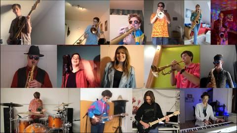 """Per Livestream treffen sich die Mitglieder der Groß-Umstädter """"Big Round City Band"""" jede Woche zur Probe. Foto: Big Round City Band"""