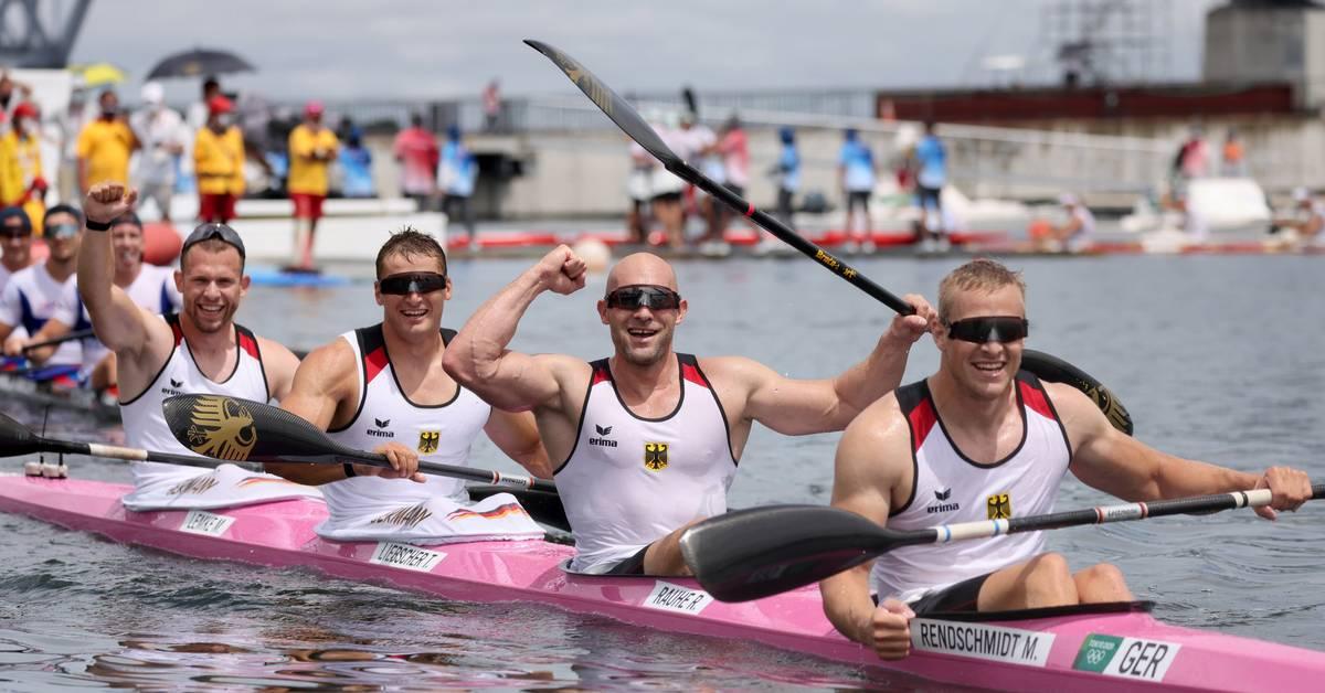 Deutscher Kajak-Vierer der Männer holt Olympia-Gold