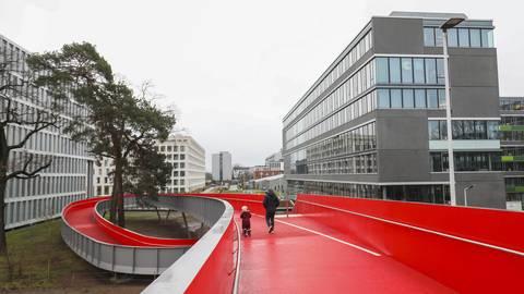 Über die neue Rheinstraßenbrücke geht es in die Telekom-Allee. Foto: Guido Schiek