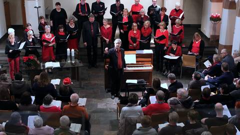 """Auf Konzerte – wie hier 2019 in der evangelischen Kirche – muss der Chor """"Just4Fun"""" noch warten. Archivfoto: Ulrich von Mengden"""