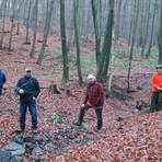 Der Damm des Rückhaltebeckens, auf dem Marcel Glock, Ortsvorsteher Frank Lämmchen und Wolfgang Busch neben Revierförster Clemens Fischer (v.l.) stehen, fügt sich in die Landschaft ein.  Foto: Potengowski