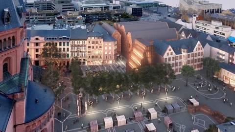 So könnte das Areal am Mainzer Gutenberg-Museum mit dem geplanten Bibelturm aussehen. Visualisierung: DFZ Architekten