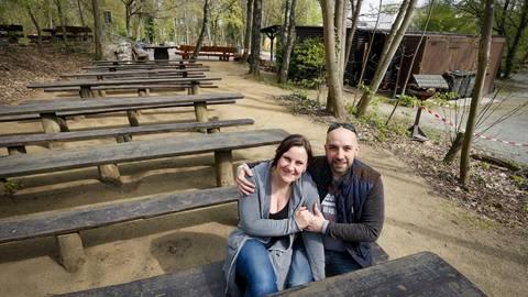 Christian Eichwald und Alexandra Tucholke sind die neuen Pächter auf der Darmstädter Ludwigshöhe. Foto: Sascha Kopp