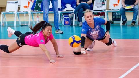 Justine Wong-Orantes (links) gibt auf dem Volleyballfeld immer alles. Archivfoto: rscp/Corinna Seibert