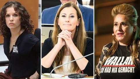 """Die Linken-Politikerinnen Anne Helm (v.l.), Janine Wissler und die Kabarettistin Idil Baydar sowie die Politikerin Martina Renner (nicht abgebildet) haben erneut Drohmails der """"NSU 2.0"""" erhalten. Fotos: dpa"""