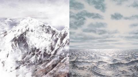 Von Bergen und Meeren: Der Bellevuesaal zeigt Werke von Jens Rausch (links) und Wulf Winckelmann. Foto: Bellevuesaal-Verein