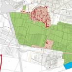 Ausschnitt der Übersichtskarte aus der Denkmaltopographie für den Main-Taunus-Kreis, Stand Oktober 2020. Die Bedeutung der Farben: Die hellroten Bereiche kennzeichnen den Schutz von Gesamtanlagen, die roten Flächen zeigen die Kulturdenkmäler, die grünen Gebiete den Schutz von Grünflächen und Blau bedeutet der Schutz von Wasserflächen. Grafik: Landesamt Denkmalpflege Hessen