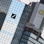 Die Zentralen von Deutscher Bank und Commerzbank in Frankfurt. Foto: dpa