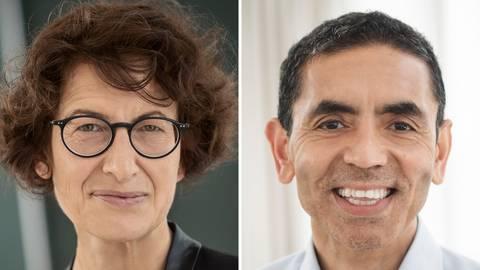 """Özlem Türeci (links) und Ugur Sahin haben mit ihrem Forschungserfolg """"Geschichte geschrieben"""" (Malu Dreyer) und große Begeisterung ausgelöst. Foto: dpa"""