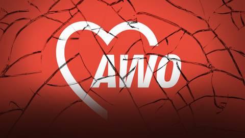 Das Logo der Awo - auf einem brüchigen Hintergrund. Grafik: bakalaeroZz - stock.adobe, Bearbeitung: VRM