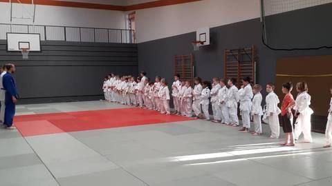 Ein Bild aus Vor-Corona-Zeiten: junge Judoka des JC Ingelheim und ihre Trainer auf der alten Matte im Dojo der Kaiserpfalz Realschule. Foto: JC Ingelheim