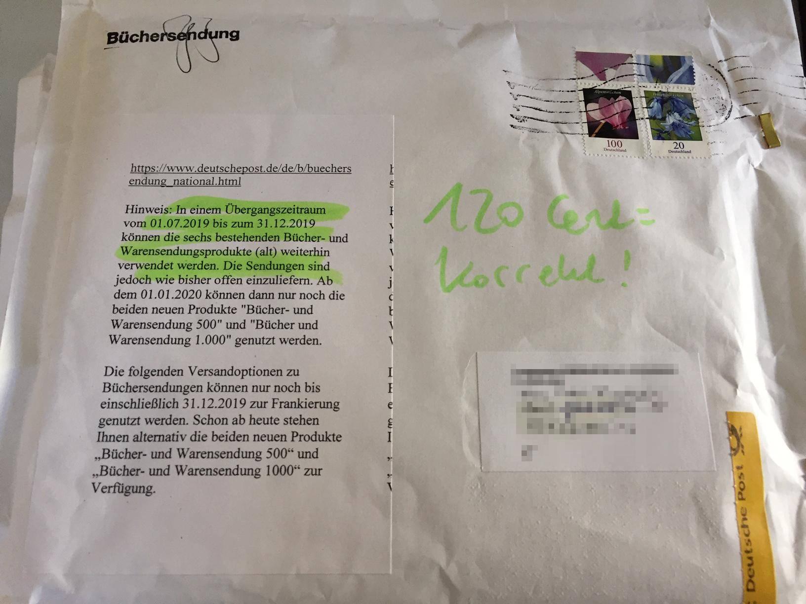deutsche post bücher-/warensendung