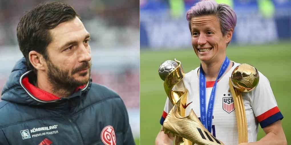 Mainz 05-Trainer Sandro Schwarz und US-Star Megan Rapinoe. Fotos: Lukas Görlach / dpa