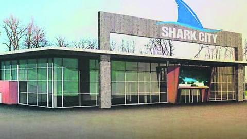 Shark City soll in Pfungstadt gebaut werden. Ein Entwurf gibt einen Eindruck von dem Gebäude. Foto: The Seven Seas Aquarium GmbH Co. KG