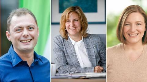Die Mainzer Grünen-Politiker Daniel Köbler, Katrin Eder und Katharina Binz (v.l.n.r.). Fotos: Grüne, Sascha Kopp