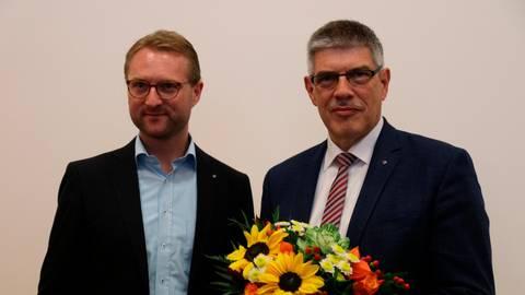 Die Koalition mit Manfred Görig (SPD, rechts) und Dr. Jens Mischak (CDU) könnte weiter machen. Archivfoto: Dickel