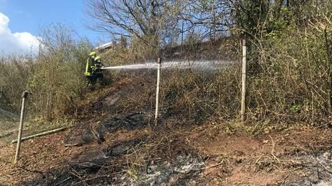 Die Feuerwehr hatte den Brand an einer Hanglage schnell im Griff. Foto: Feuerwehr Gutenberg/Feuerwehr Rüdesheim