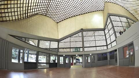 Die Multihalle mit ihrer Holzgitterschalen-Konstruktion ist in die Jahre gekommen. Foto: Gerold