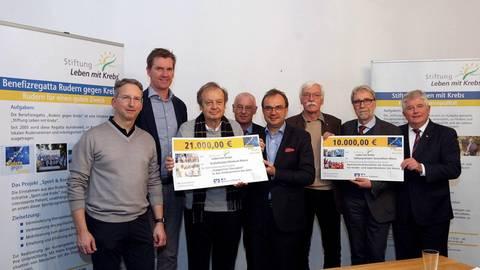 """Zwei Mainzer Kliniken wurden aus dem Erlös der Benefizregatta """"Rudern gegen Krebs"""" großzügig bedacht. Foto: hbz/Jörg Henkel"""
