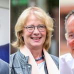 Die drei OB-Kandidaten Nino Haase (l., parteilos), Tabea Rößner (Grüne) und Michael Ebling (SPD). Fotos: Sascha Kopp (2), Harald Kaster