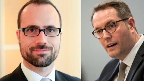 Clemens Hoch (links) wird Minister für Wissenschaft und Gesundheit und Alexander Schweitzer übernimmt in Rheinland-Pfalz das neu geschaffene Ressort für Arbeit, Soziales, Transformation und Digitalisierung. Fotos: Sascha Kopp und dpa