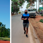 Virtuelle Stadtläufer: Emily und Jürgen Zehnder in Goddelau und Krishna Prasad in Indien. Fotos: Zöller/Software AG